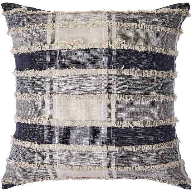 LR Home Checks Navy Blue / Cream Over Tufted 20 in. x 20 in. Plaid Throw Pillow - Home Depot