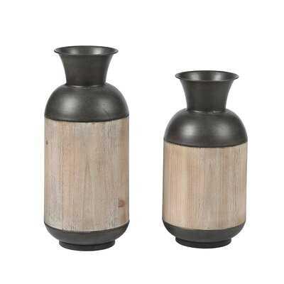 2 Piece Mampre Brown Metal Table Vase Set - Wayfair