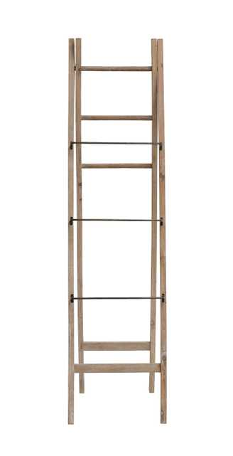 """2-Sided 71""""H Decorative A-Frame Fir Wood Ladder with Metal & Wood Rungs - Nomad Home"""
