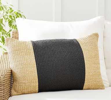 """Pieced Faux Natural Fiber Indoor/Outdoor Lumbar Pillow , 16 x 26"""", Black Multi - Pottery Barn"""