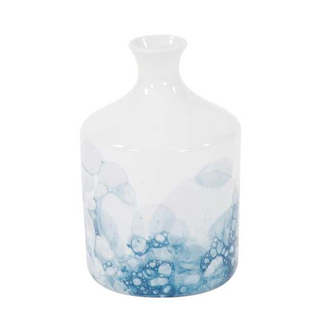 Howard Elliott Collection Blue and White Porcelain Bottle Vase, Small, White and Blue - Home Depot