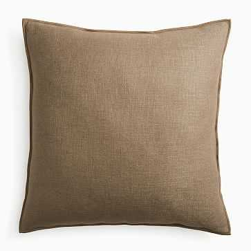"""Classic Linen Pillow Cover, 24""""x24"""", Mocha, Set of 2 - West Elm"""
