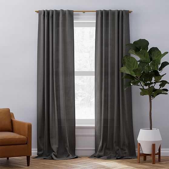 "Belgian Linen Graduated Stripe Curtain, Pewter + Stone White, 48""x108"" - West Elm"