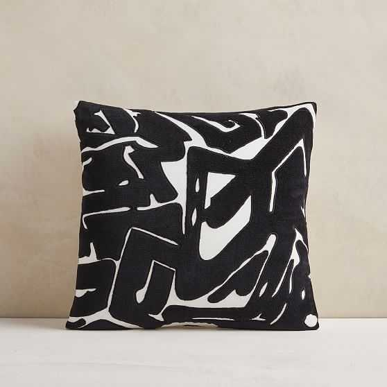 """Abstract Velvet Applique Pillow Cover, 18""""x18"""", Black - West Elm"""