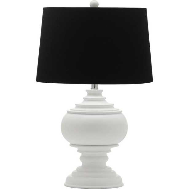 Safavieh Callaway 26.25 in. White Table Lamp with Black Shade - Home Depot