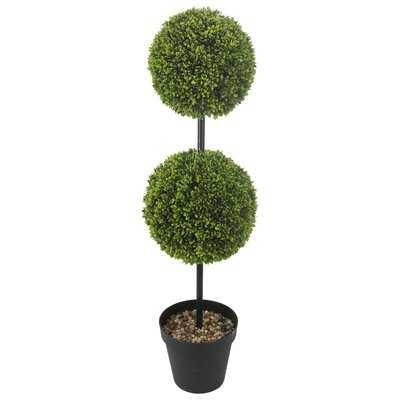 "46"" Artificial Boxwood Topiary in Pot - Wayfair"