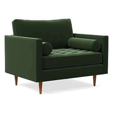 Monroe Tufted Chair and a Half, Poly, Performance Velvet, Moss, Pecan - West Elm