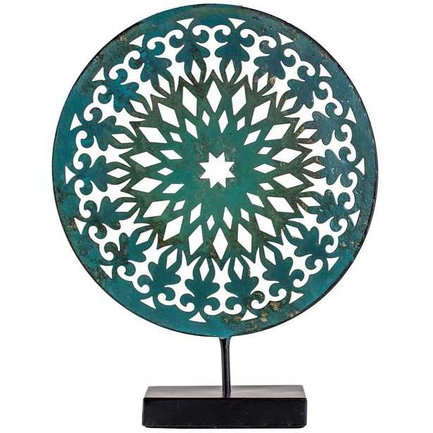 Turquoise Medallion Sculpture on Stand, Blue - Home Depot