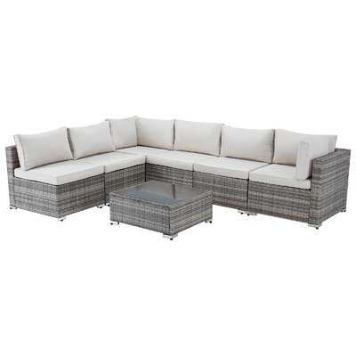 Outdoor Sectional Furniture Chair 7 Piece Set With Cushions And Tea Table, Grey - Wayfair
