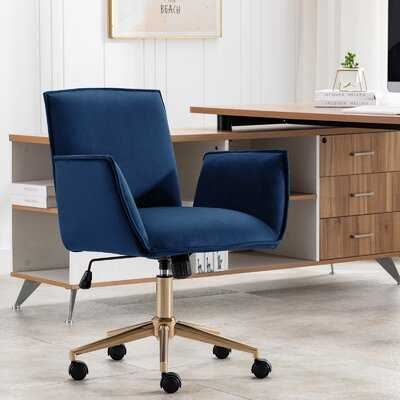 Velvet Office Chair With Arm Adjustable Swivel Chair With Gold Base For Home Office - Wayfair
