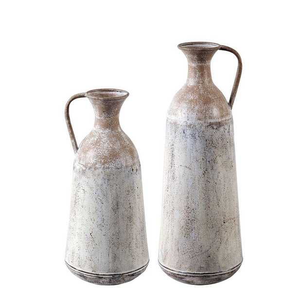 Winsome House 2-Piece Metal Roma Pitcher Vase Set, White - Home Depot