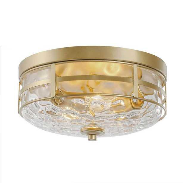 LALUZ Viola 3-Light Brass Modern Circle Flush-Mount with Drum Decorative Water Ripple Glass Shade Ceiling Light - Home Depot