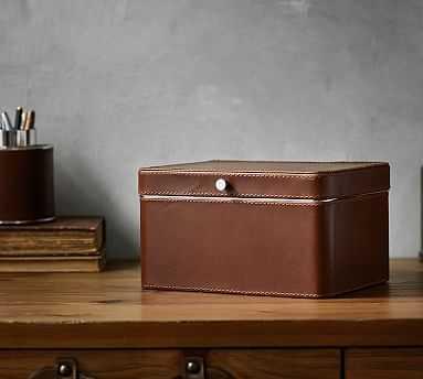 Drake Leather Storage Box, Cognac - Pottery Barn