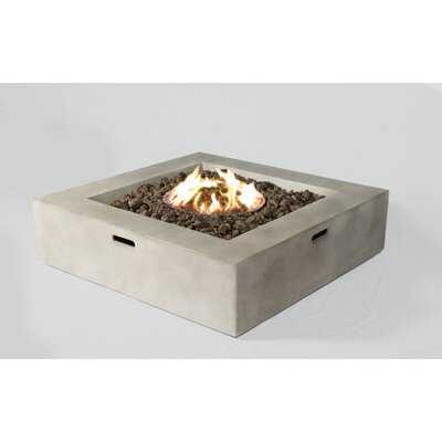 """Aly Fiber Cast Concrete/Burner Stainless Steel Propane/Natural Gas Fire Pit Table, Natural Concrete, 12""""H x 36""""W x 36""""D - AllModern"""