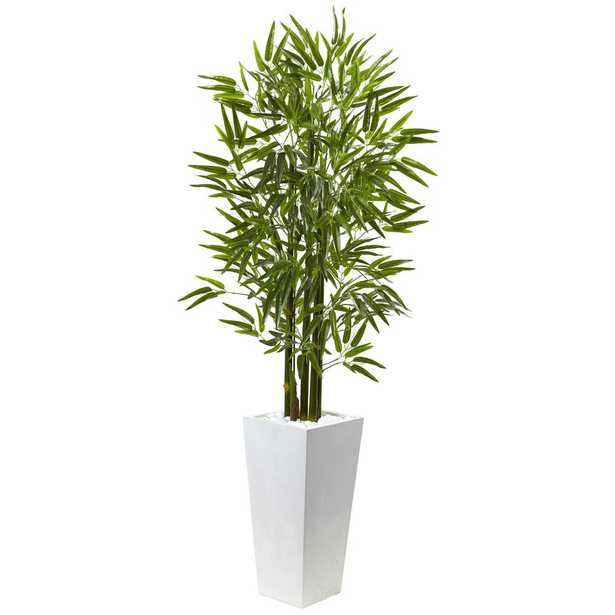 Bamboo Tree with White Planter UV Resistant (Indoor/Outdoor) - Home Depot