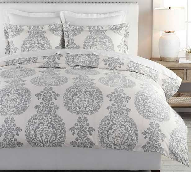 Gray Lucianna Percale Duvet Cover, King/Cal. King - Pottery Barn