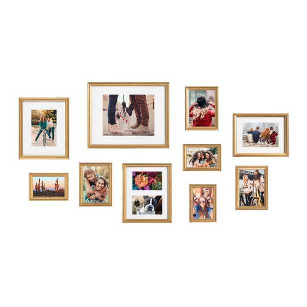 Kate and Laurel Adlynn Gold Picture Frames (Set of 10) - Home Depot