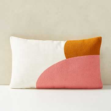 """Corded Color Shapes Pillow Cover, 12""""x21"""", Coral Dream - West Elm"""