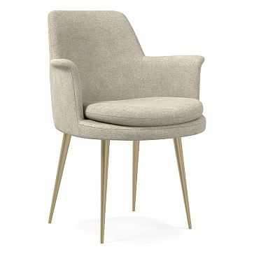Finley Wing Dining Chair, Distressed Velvet, Light Taupe, Light Bronze - West Elm