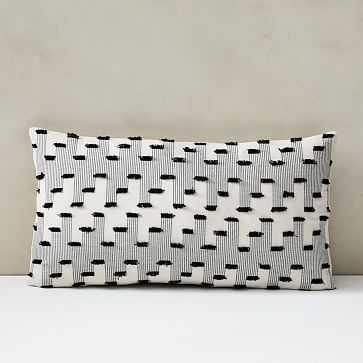 """Offset Fringe Pillow Cover, Set of 2, 12""""x21"""", Black - West Elm"""