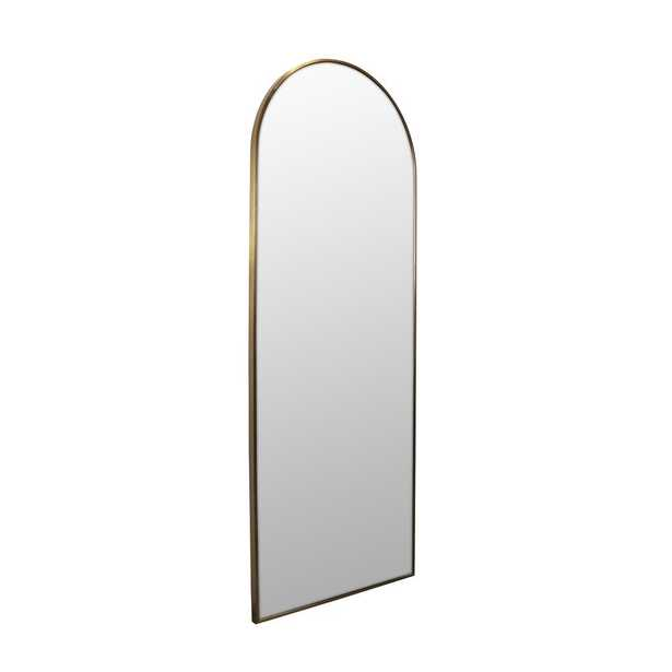 Glass Warehouse 24 in. x 67 in. Arch Leaner Dressing Stainless Steel Framed Wall Mirror in Satin Brass - Home Depot