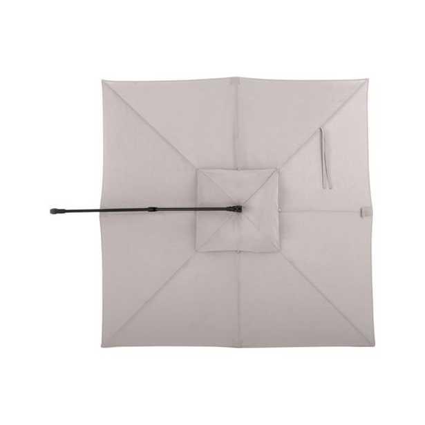 10' Silver Sunbrella ® Square Cantilever Umbrella Canopy - Crate and Barrel