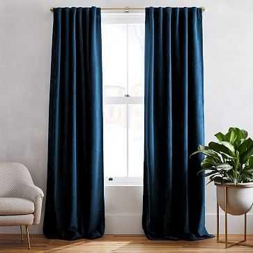 "Worn Velvet Curtain with Cotton Lining, Regal Blue, 48""x96"" - West Elm"