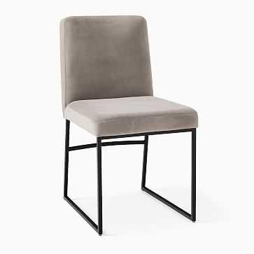 Range Side Chair, Performance Velvet, Silver, Antique Bronze - West Elm