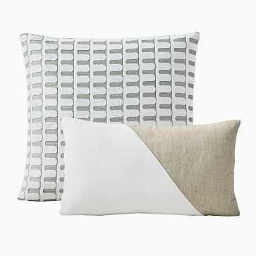 Cut Velvet Archways & Cotton Linen & Vevlet Corners Pillow Cover Set, Stone White, Set of 2 - West Elm