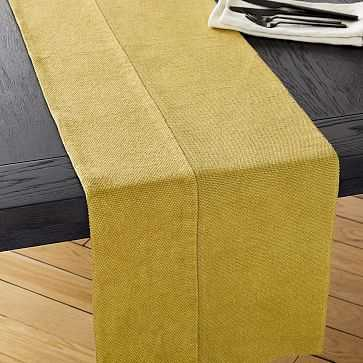 Cotton Canvas Table Table Runner, Wasabi - West Elm