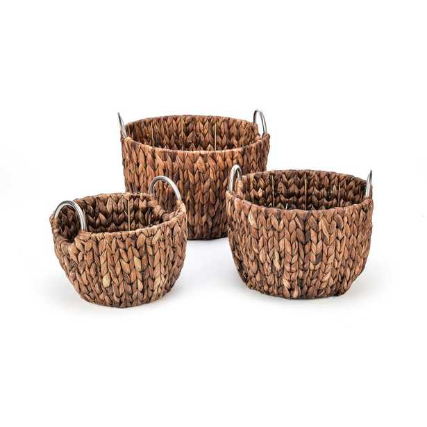 Rich Chocolate Round Hyacinth Baskets with Stainless Steel Handles (Set of 3), Brown - Home Depot