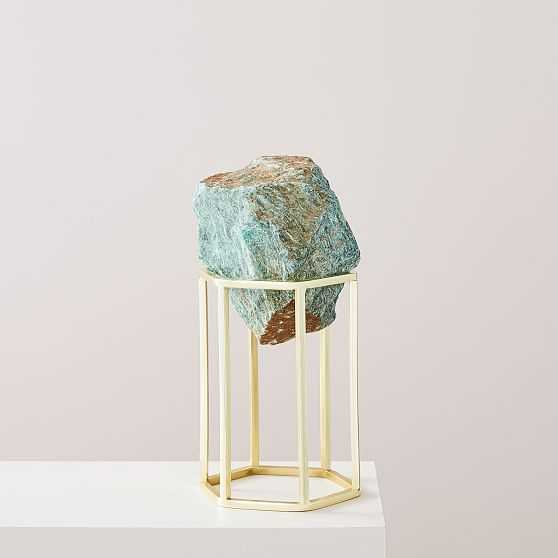 Natural Stone on Stand Object, Green, Set of 2 - West Elm