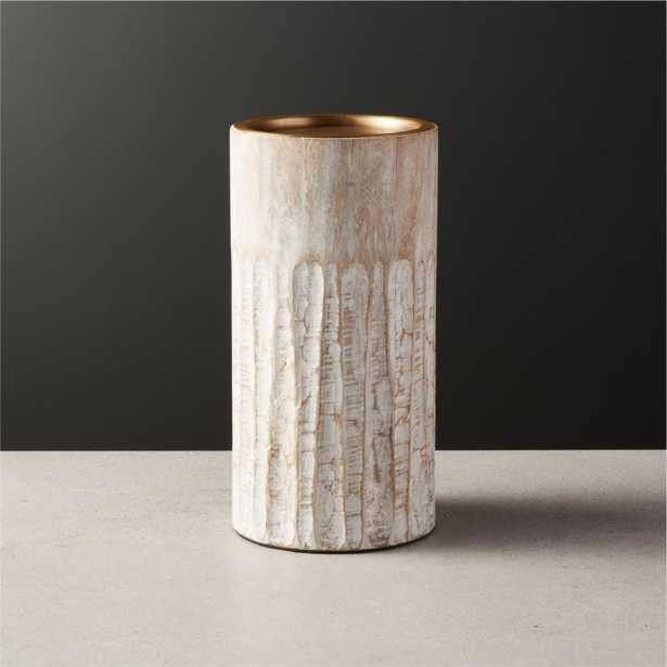 Notch Mango Wood Plllar Candle Holder Small - CB2