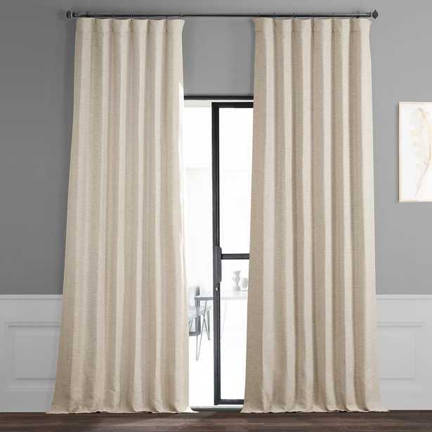 Exclusive Fabrics & Furnishings Semi-Opaque Oat Cream Bellino Blackout Curtain - 50 in. W x 108 in. L (Panel) - Home Depot