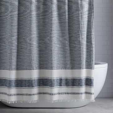 "Organic Variegated Stripe Gauze Shower Curtain, 72""x74"", Stone White + Black - West Elm"