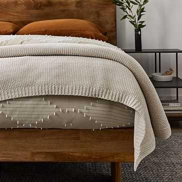 Cotton Knit Bed Blanket, King/Cal. King, Natural - West Elm