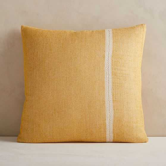 "Silk Mono Stripe Pillow Cover, 24""x24"", Dark Horseradish - West Elm"