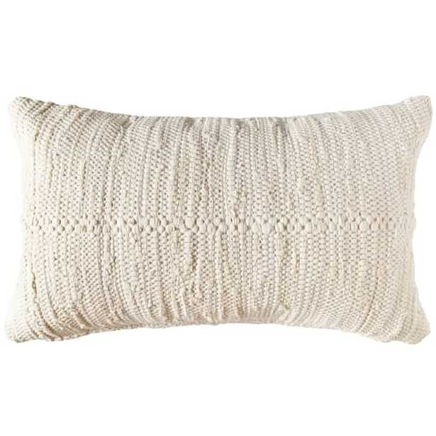 "Chindi Lumbar Pillow Cover, 24"" x 14"", Cream - PillowPia"