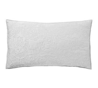 Monique Lhuillier Blossom Embroidered Cotton Sham, King, Gray - Pottery Barn