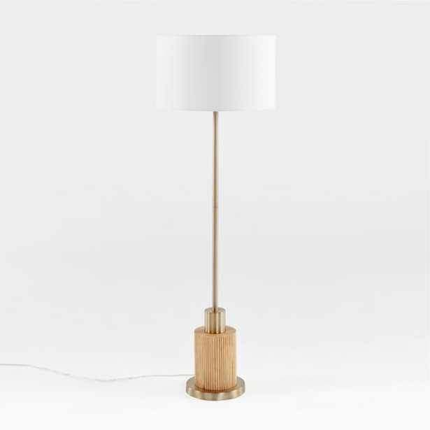 Bridaine Wood & Brass Floor Lamp - Crate and Barrel