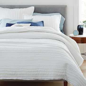 Belgian Flax Linen Linework Quilt, King/Cal. King, White - West Elm