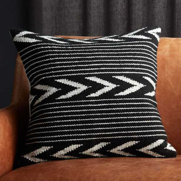 """20"""" Bowman Black and White Pillow with Feather-Down Insert - CB2"""