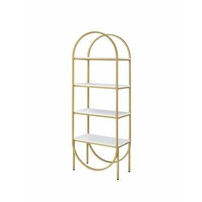 Arched Metal Frame Wooden Bookshelf With 4 Open Compartments,White And Gold - Wayfair
