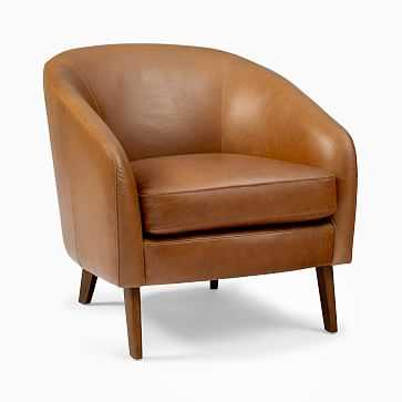Jonah Leather Chair, Saddle Leather/Nut, Pecan - West Elm