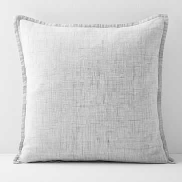 """European Flax Linen Pillow Cover, 20""""x20"""", Frost Gray Fiber Dye, Set of 2 - West Elm"""