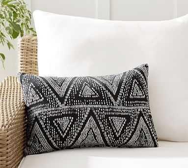 "Sunbrella(R) Woven Triangles Indoor/Outdoor Pillow, 14 x 20"", Black Multi - Pottery Barn"