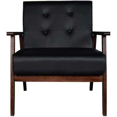 """Mid-Century Retro Modern Accent Chair Wooden Arm Upholstered Tufted Back Lounge Chairs Seat Size 24.4"""" 18.3"""" (Deep) (Square Leg Black) - Wayfair"""