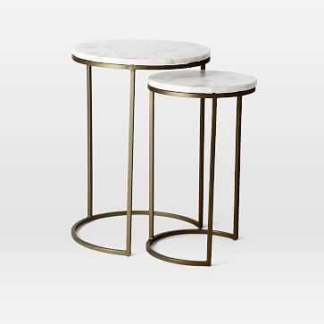 Round Nesting Side Table, Marble, Burnished Bronze - West Elm