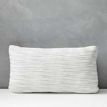 """Outdoor Striated Pillow, 12""""x21"""", Cloudburst Gray - West Elm"""