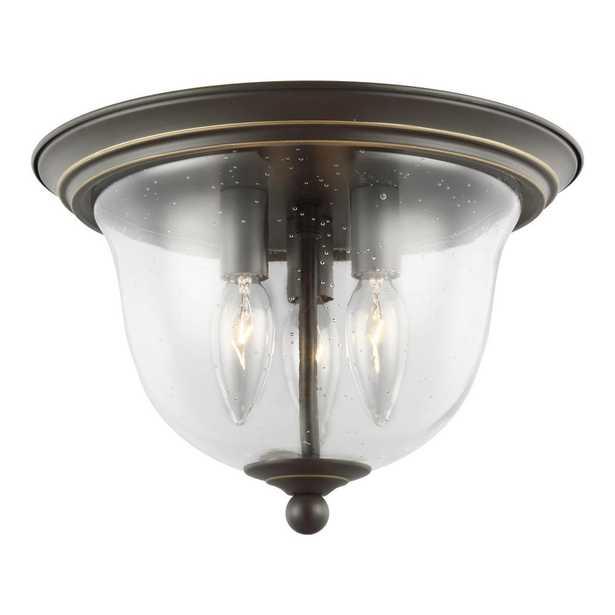 Sea Gull Lighting Belton 3-Light Heirloom Bronze Flushmount - Home Depot